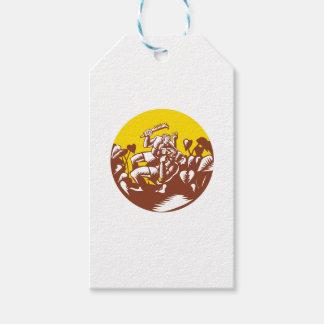 Losi Defeating God Circle Woodcut Gift Tags