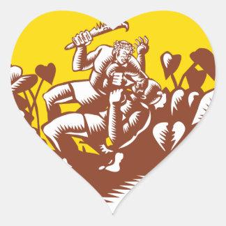 Losi Defeating God Circle Woodcut Heart Sticker