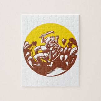 Losi Defeating God Circle Woodcut Jigsaw Puzzle