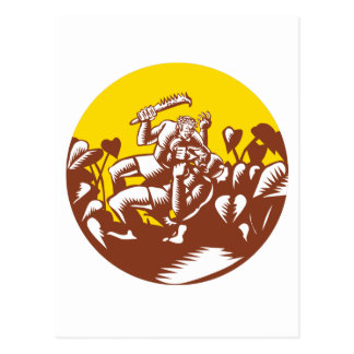 Losi Defeating God Circle Woodcut Postcard