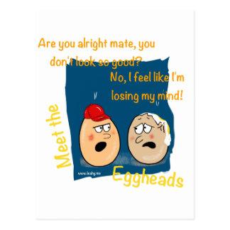 Losing my Mind, funny egghead cartoon gifts Postcard