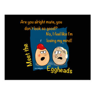 Losing my mind, funny eggheads cartoon postcards