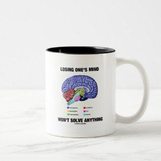 Losing One's Mind Won't Solve Anything (Brain) Two-Tone Coffee Mug