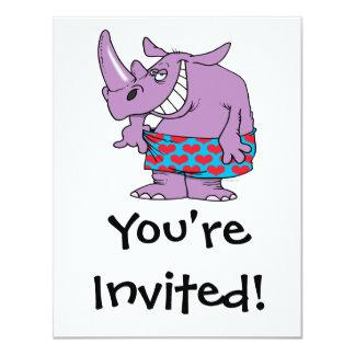 losing weight funny rhino in boxers custom invitation