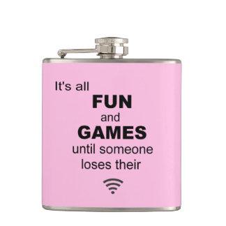 Losing WiFi Internet Hip Flask - Light Pink