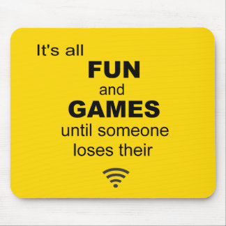 Losing WiFi Internet Mouse Mat - Bright Yellow Mouse Pads