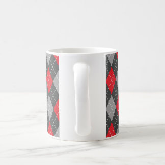 Loss for Words: Black and Red Argyle Pattern Coffee Mug