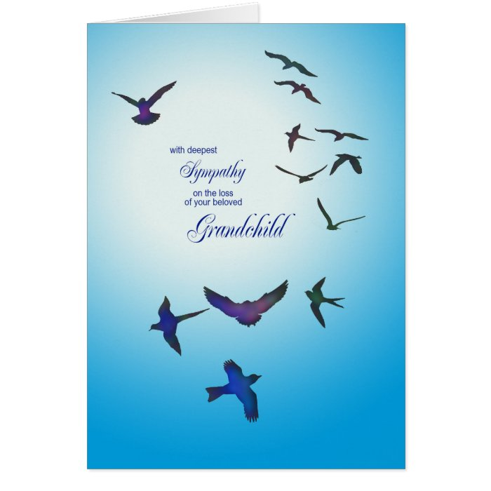 loss of grandchild sympathy card flying birds card zazzle