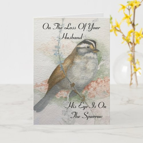 Loss Of Husband Sparrow Bible Quote Sympathy Card