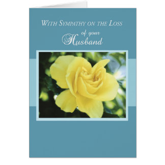 Loss of Husband with Yellow Rose, Sympathy Card
