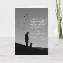 Loss of Pet Dog Sympathy Card Man and Dog