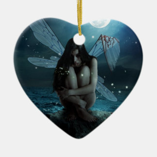 Lost and Broken Fairy Double-Sided Heart Ceramic Christmas Ornament
