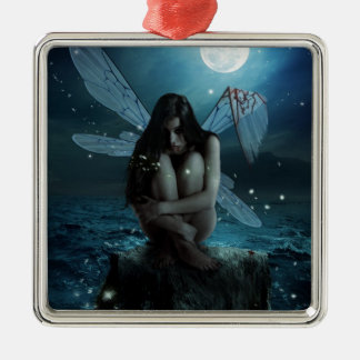 Lost and Broken Fairy Square Metal Christmas Ornament