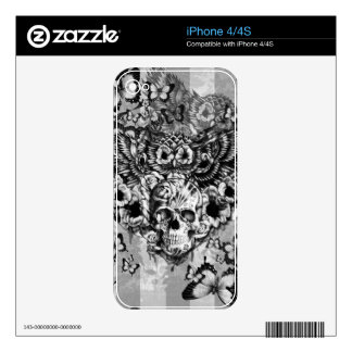Lost and found, floral owl with sugar skull iPhone 4S decal