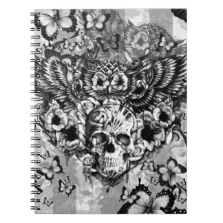 Lost and found, floral owl with sugar skull spiral notebook