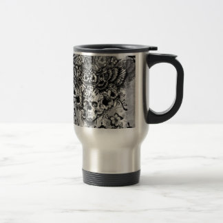 Lost and found, floral owl with sugar skull travel mug