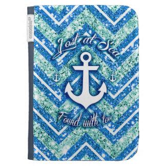 Lost at sea glittery chevron Kindle case, nautical Kindle Keyboard Case