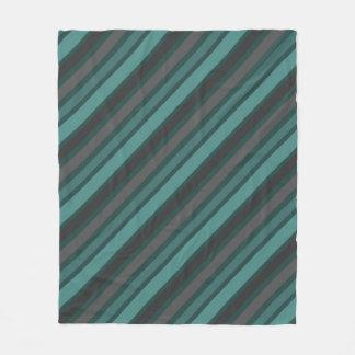 Lost at Sea Green Diagonal Pinstripes Fleece Blanket