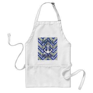Lost at sea nautical art on glittery chevron. adult apron