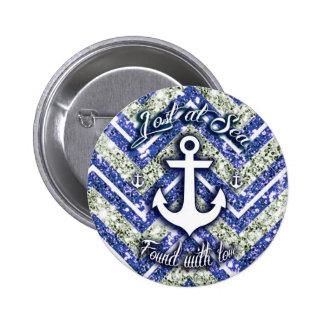 Lost at sea nautical art on glittery chevron. pinback buttons
