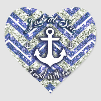 Lost at sea nautical art on glittery chevron. heart sticker