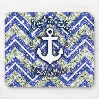Lost at sea nautical art on glittery chevron. mouse pad