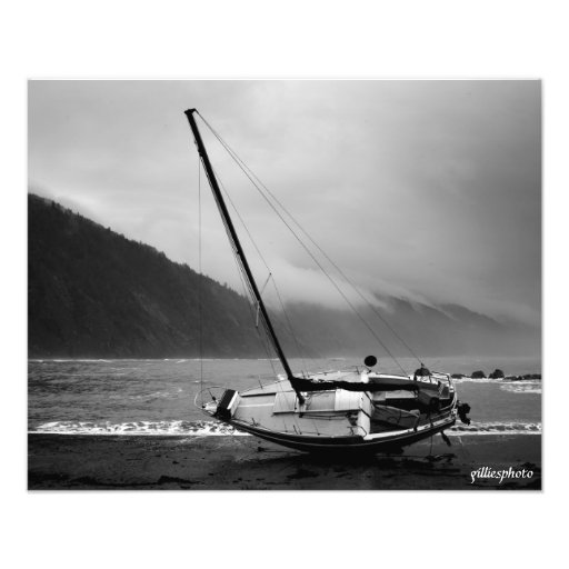 Lost Coast and a Lost Sailboat Photographic Print