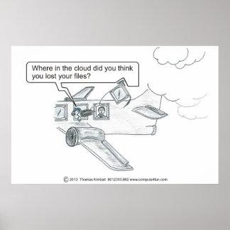 Lost files in cloud cartoon poster
