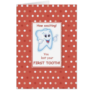 Lost First Tooth Red Polka Dots Congratulations Card