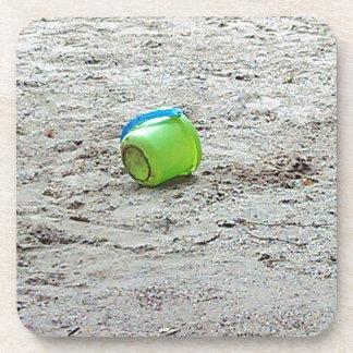Lost Green Bucket in Sand on Summer Beach Beverage Coaster