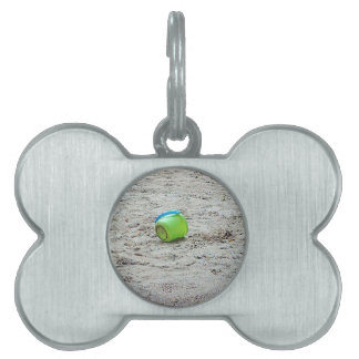Lost Green Bucket in Sand on Summer Beach Pet Tag