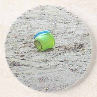 Lost Green Bucket in Sand on Summer Beach Sandstone Coaster
