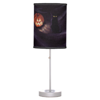 LOST IN A HAUNTED FOREST (pumpkin and cat) Table Lamp