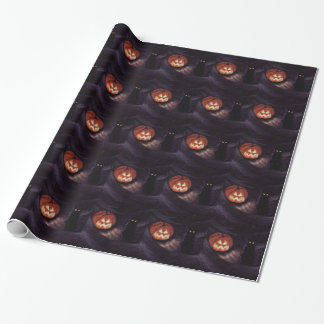 LOST IN A HAUNTED FOREST (pumpkin and cat) Gift Wrapping Paper