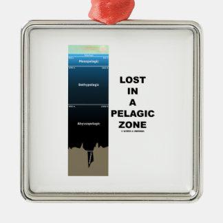Lost In A Pelagic Zone (Oceanography Humor) Square Metal Christmas Ornament