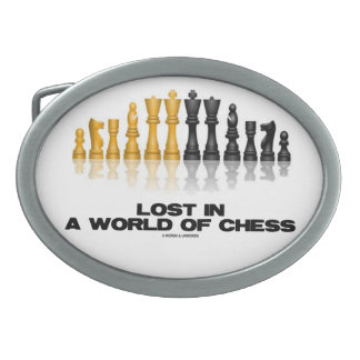 Lost In A World Of Chess (Reflective Chess Set) Oval Belt Buckle