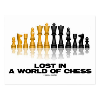 Lost In A World Of Chess (Reflective Chess Set) Postcard