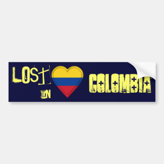 Lost in Colombia Flag Heart Bumper Sticker