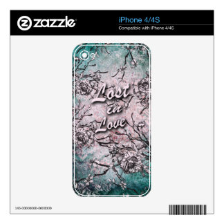 Lost in love floral in soft blue and pink. iPhone 4 decals