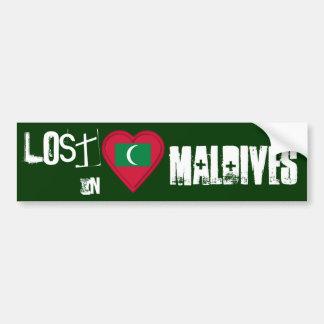Lost in Maldives Flag Heart Car Bumper Sticker