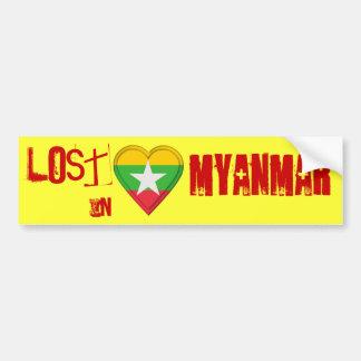 Lost in Myanmar - Flag Heart Bumper Sticker