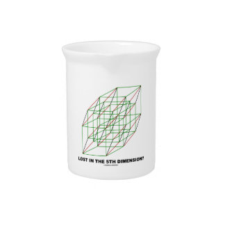 Lost In The Fifth Dimension? (Geometry Cube Humor) Pitcher