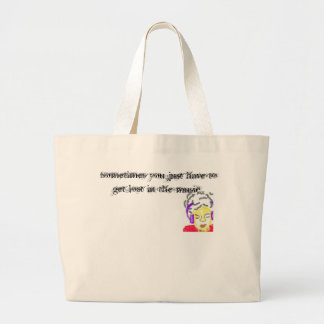 Lost in the music large tote bag