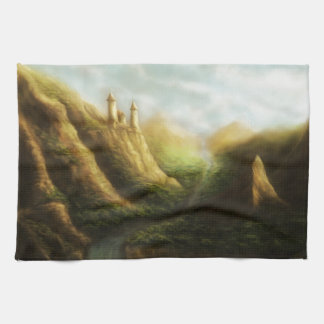 lost kingdom fantasy landscape hand towel