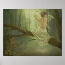 faery, fantasy, butterfly, digital, art, birds, wings, forest, woods, river, magic, Cartaz/impressão com design gráfico personalizado