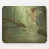 faery, fantasy, butterfly, digital, art, birds, wings, forest, woods, river, magic, Mouse pad com design gráfico personalizado
