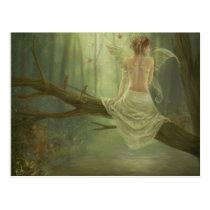faery, fantasy, butterfly, digital, art, birds, wings, forest, woods, river, magic, Cartão postal com design gráfico personalizado