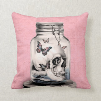 Lost thoughts, skull in jar throw pillow