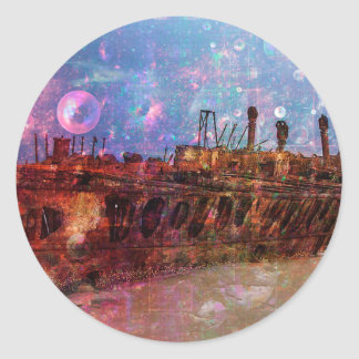 LOST TO THE RAVAGES OF TIMEship ship wreck shipwre Classic Round Sticker
