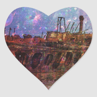 LOST TO THE RAVAGES OF TIMEship ship wreck shipwre Heart Sticker
